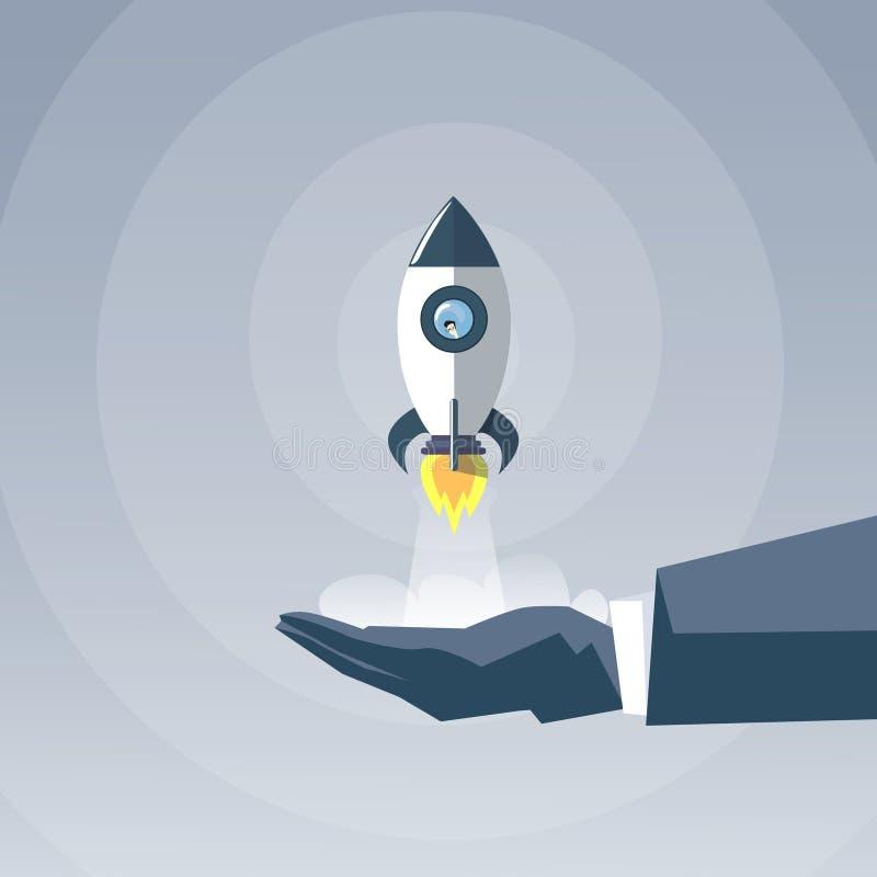 Rocket Ship New Successful Startup för utrymme för innehav för hand för affärsman begrepp royaltyfri illustrationer