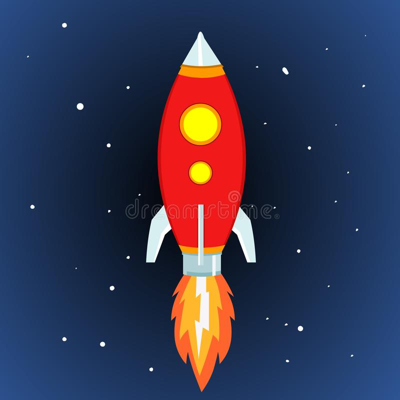 Rocket Ship Ruimterocket launch vector-illustratie stock illustratie
