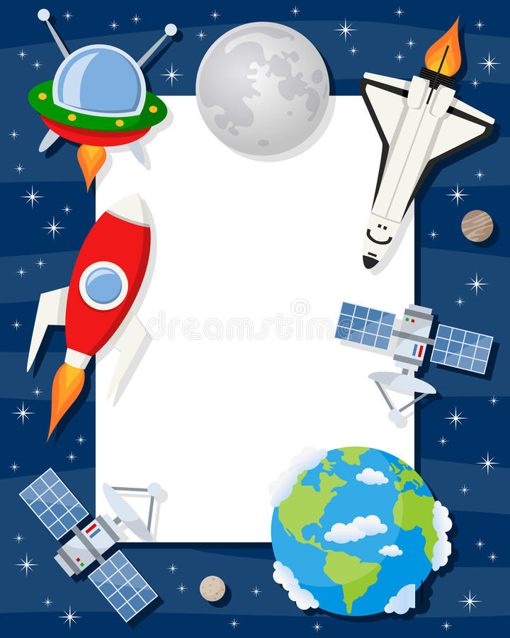 Rocket Shuttle Satellites Vertical Frame stock illustration