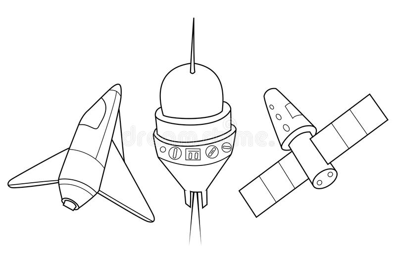 Rocket, shuttle and spaceship. A set of space ships. vector illustration