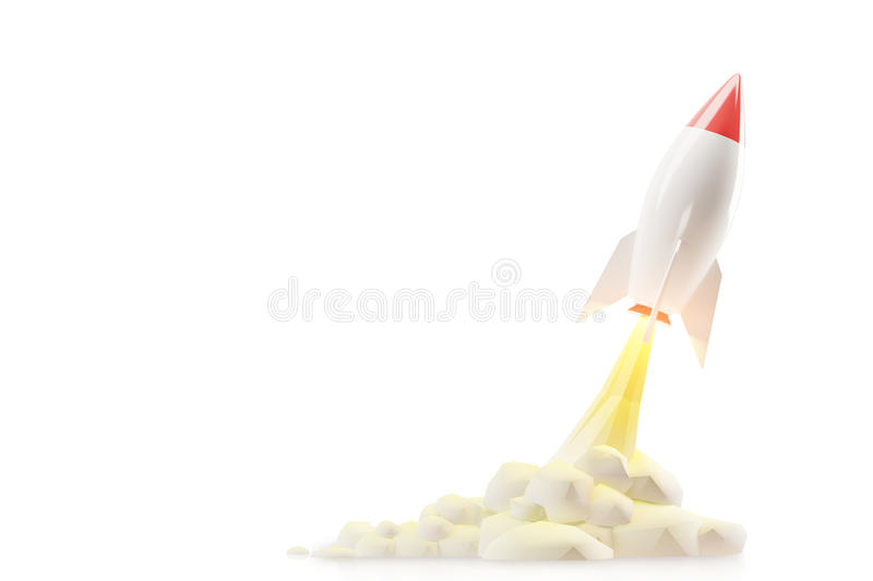 Rocket sketch against white royalty free illustration