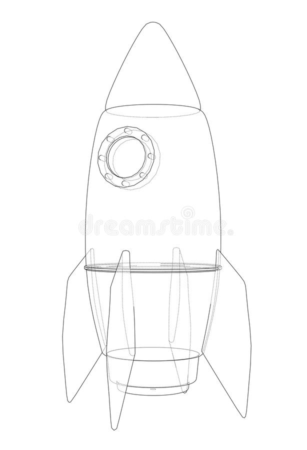 Rocket sketch. 3d illustration stock illustration