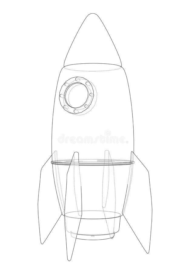 Rocket Sketch ilustración 3D stock de ilustración