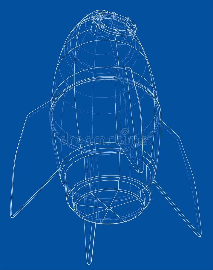 Rocket Sketch Representación del vector de 3d ilustración del vector