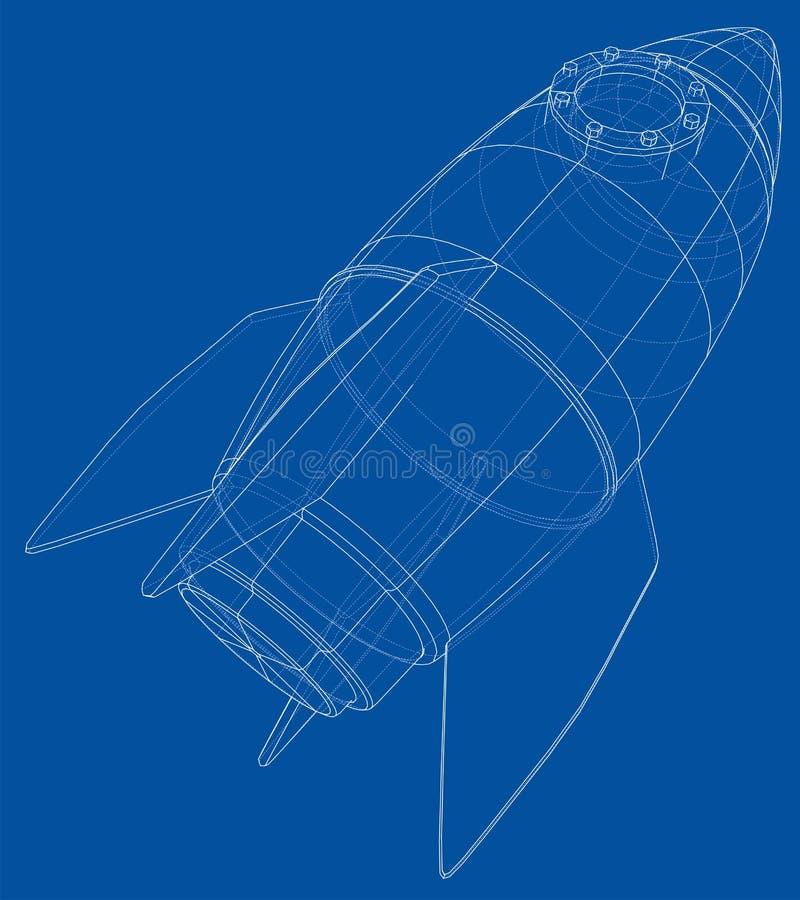 Rocket Sketch Representación del vector de 3d libre illustration