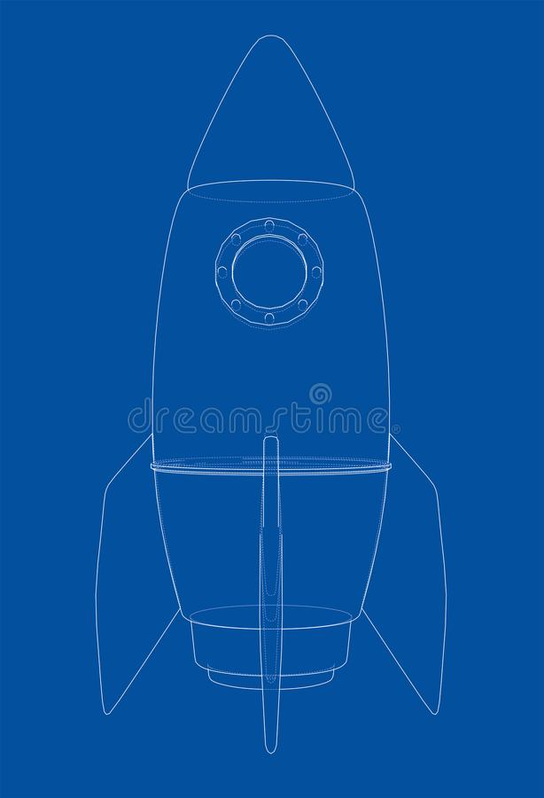 Rocket sketch. Vector stock illustration