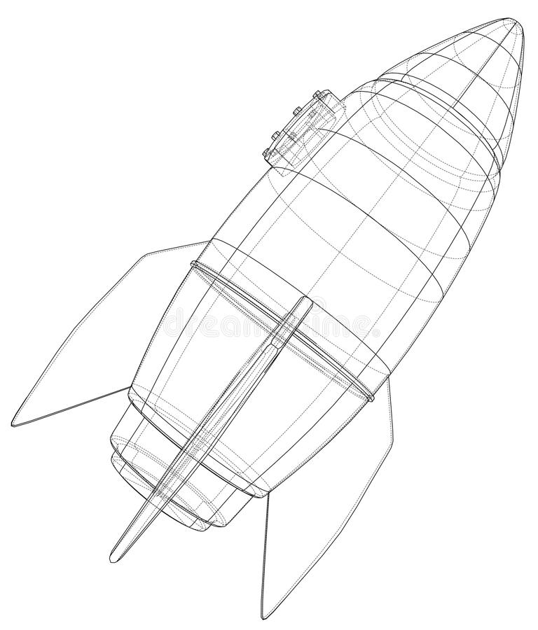 Rocket sketch. Vector rendering of 3d royalty free illustration