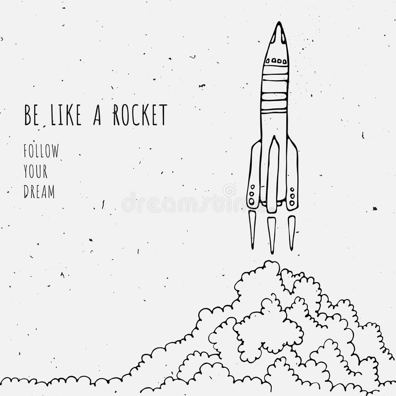 Free Rocket Sketched Vector Illustration With Clouds Stock Photos - 87983553