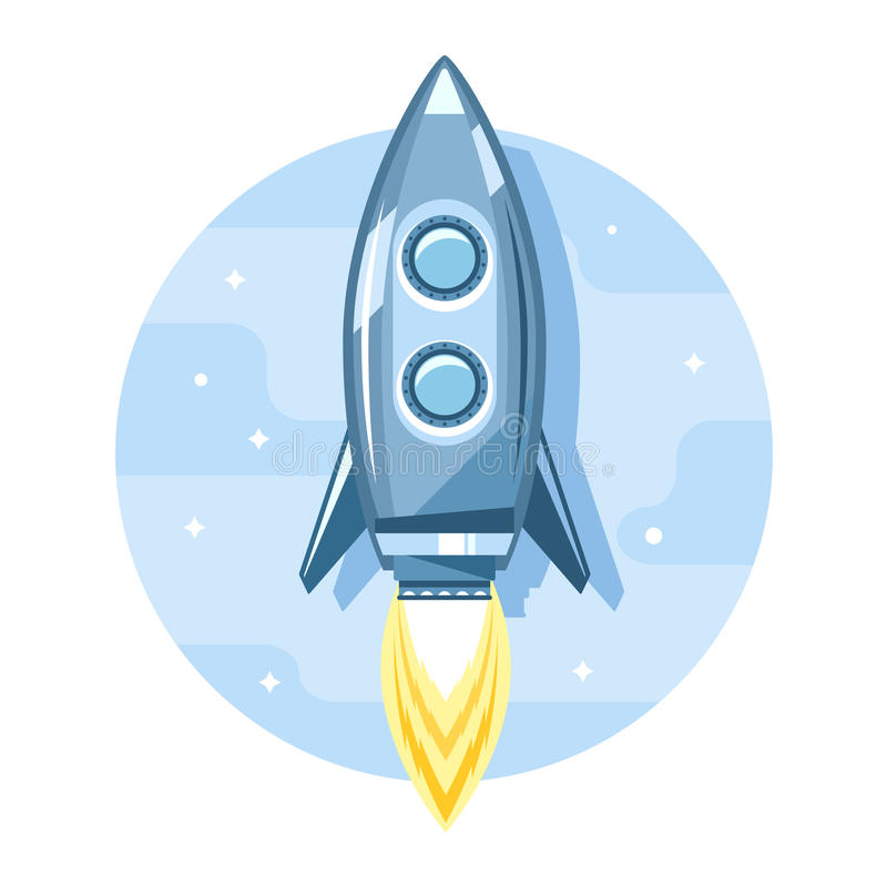 Rocket in Sky Flat Icon vector illustration