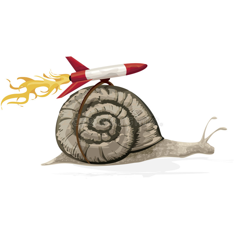 Rocket Snail with clipping path. Illustration with clipping path stock illustration