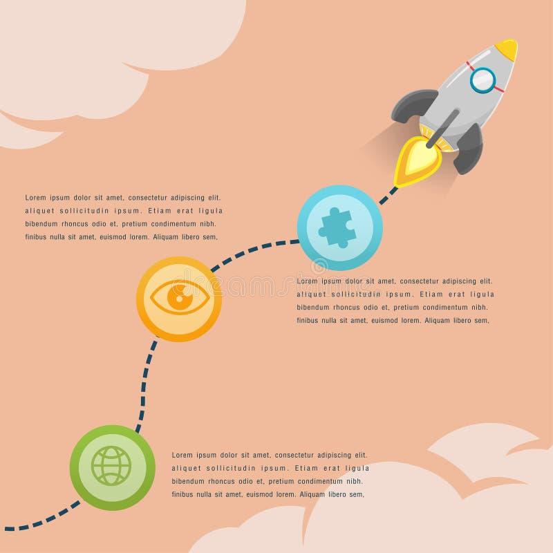 Rocket Soar Info Graphic Presentations-Vektor stock abbildung