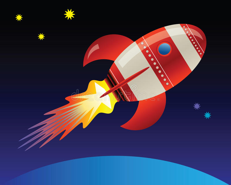 Rocket in Space vector illustration