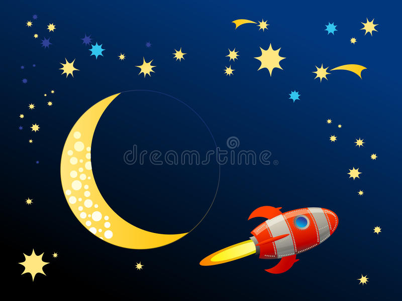 Rocket in space royalty free illustration