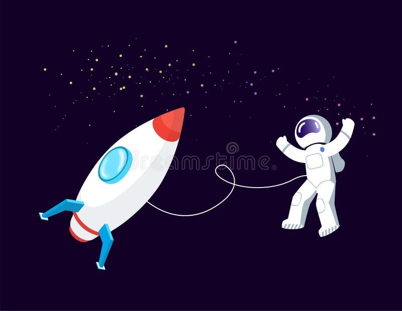 Rocket Space, astronaute Floating dans le bateau de cosmos illustration de vecteur