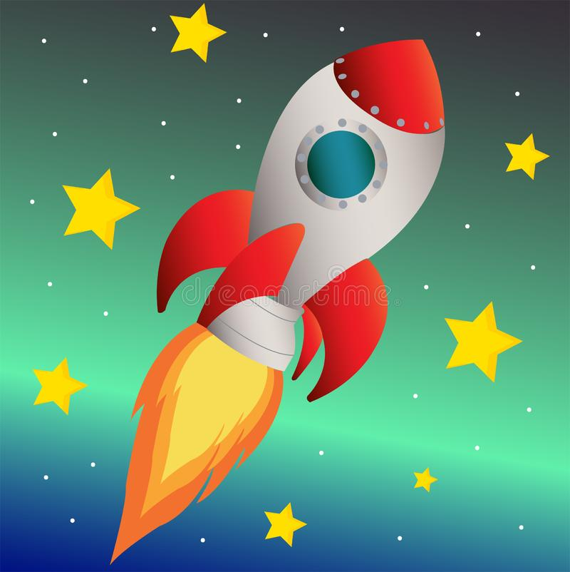 Rocket in space on blue space background with stars. Fast rocket in space enviroment stock illustration
