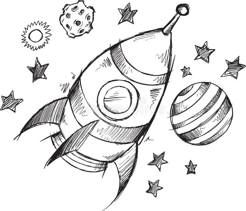 Rocket Space Doodle Sketch Vector ilustración del vector