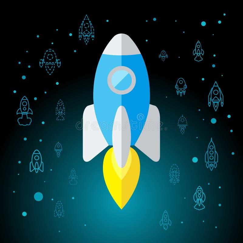 Rocket In Space Flat Icon lokalisierte lizenzfreie abbildung