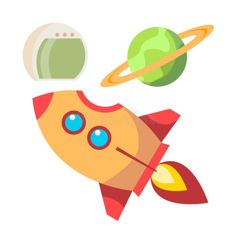 Rocket Space Icons Vetora Nave espacial e planeta, capacete conceito do universo Ilustração lisa isolada dos desenhos animados ilustração do vetor