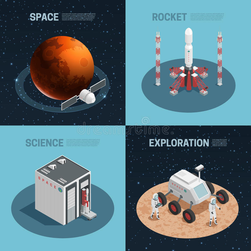 Rocket Space Isometric Icon Set ilustración del vector