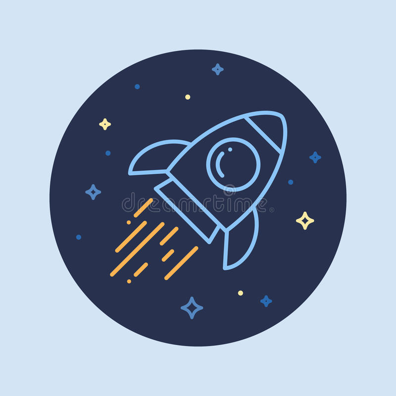 Rocket In Space Line Icon stock illustrationer
