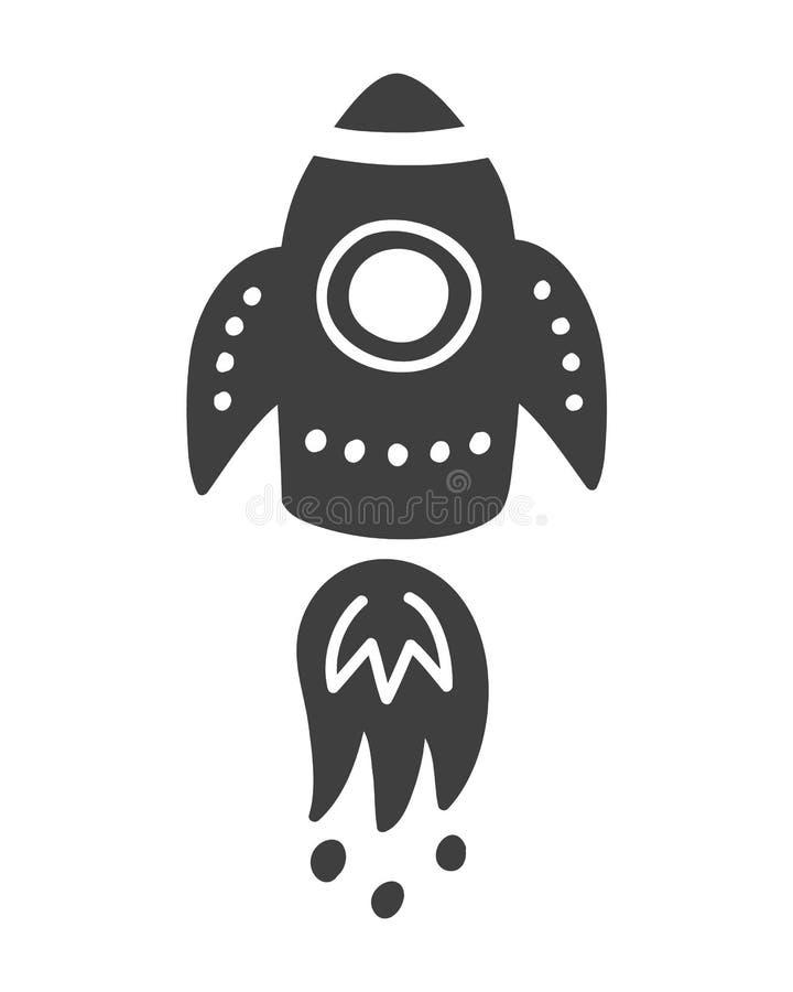 Rocket Space lopptryck Skandinaviskt stiluniversumtema royaltyfri illustrationer