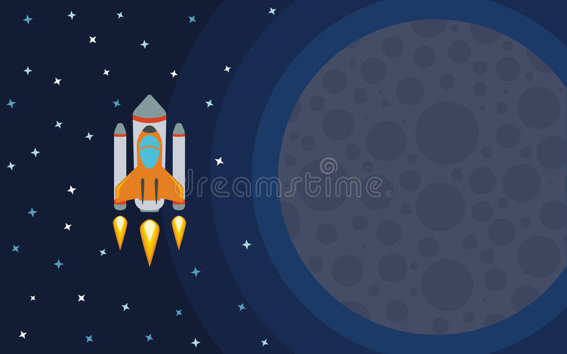 The rocket in space near the planet. Space travel. stock illustration