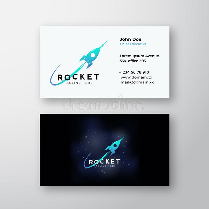 Rocket Space Ship and Cosmic Background. Abstract Vector Sign or Logo and Business Card Template. Premium Stationary royalty free illustration