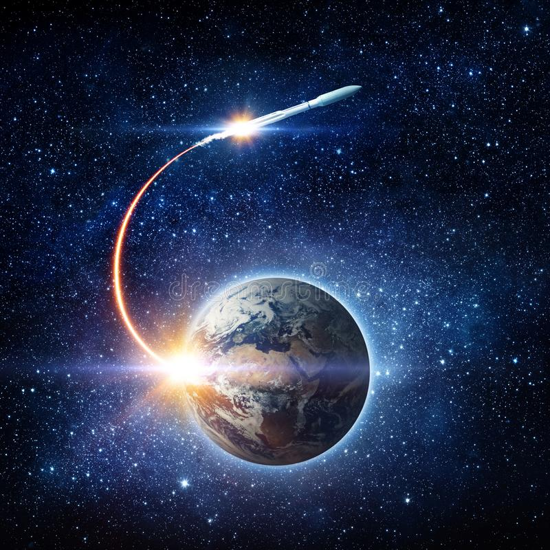 Rocket space ship launching from planet Earth and flying into outer space. Space exploration background. Elements of this image f. Urnished by NASA stock images