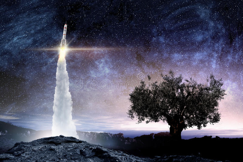 Rocket Space Ship Media misti immagini stock