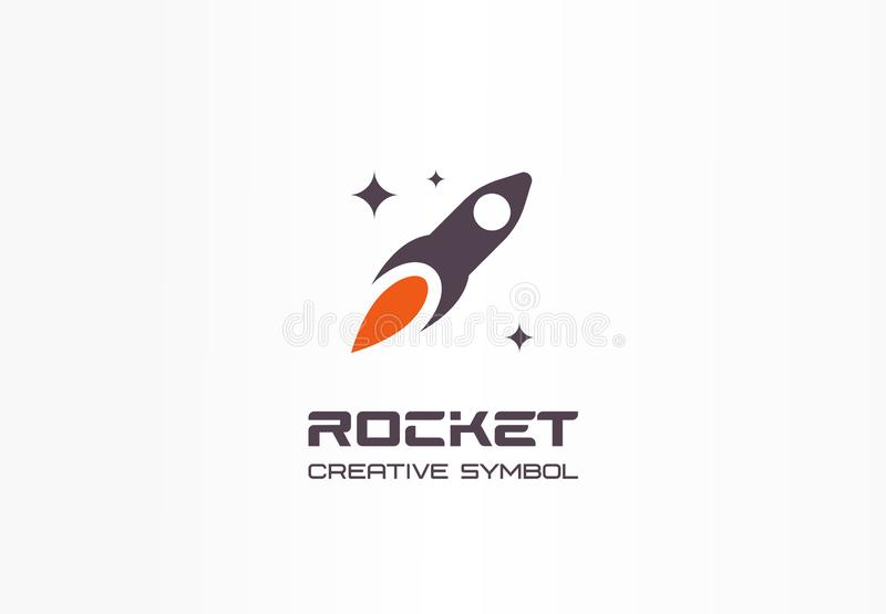 Rocket in space, startup creative symbol concept. Spaceship start up abstract business logo idea. Stars, sky and ship royalty free illustration