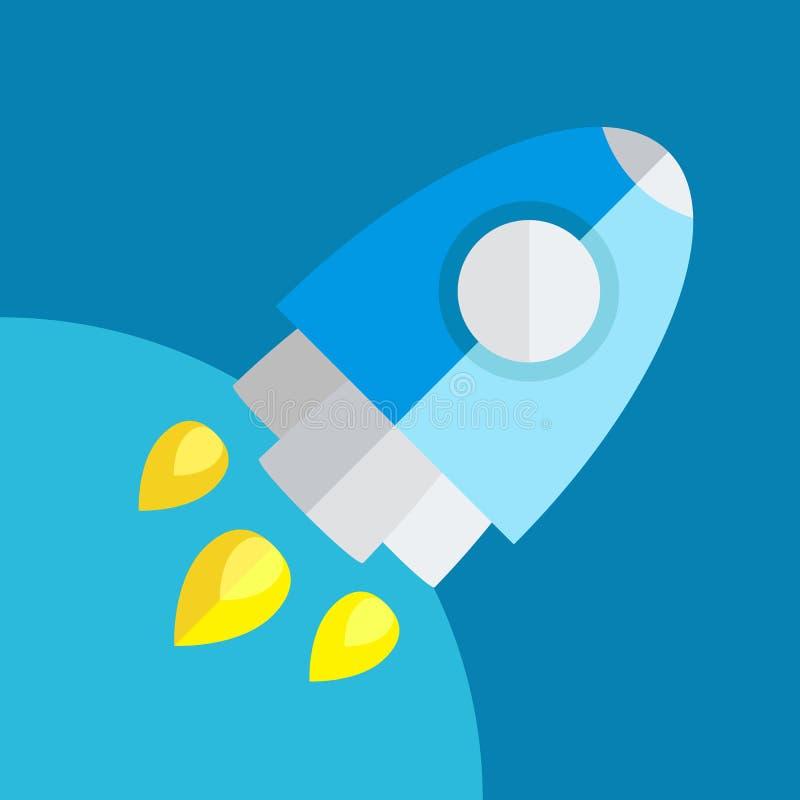 Rocket Or Spaceship Flat Icon lokalisierte stock abbildung