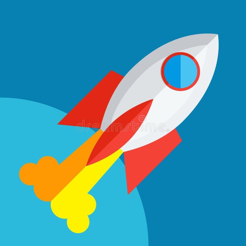 Rocket Or Spaceship Flat Icon lokalisierte vektor abbildung