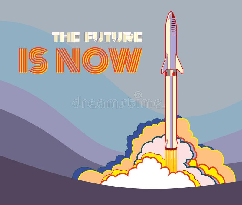 Rocket spaceship launching vector retro style illustration. Vector cartoon spaceship isolated for web, postcard, poster, print royalty free illustration