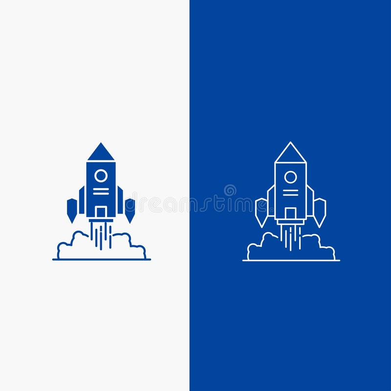Rocket, spaceship, startup, launch, Game Line and Glyph web Button in Blue color Vertical Banner for UI and UX, website or mobile. Application. Vector EPS10 vector illustration