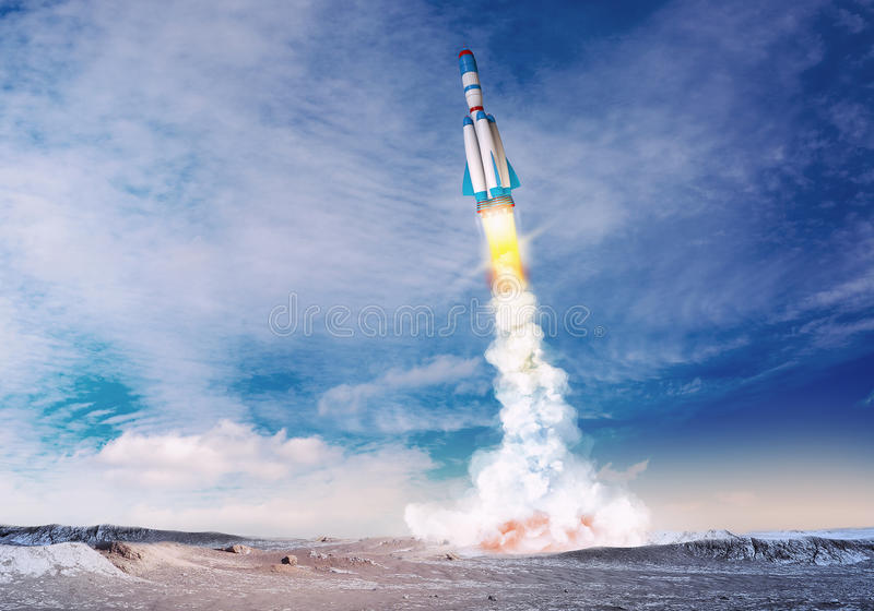 Rocket spaceship takes off. Mixed media with 3D illustration elements stock image