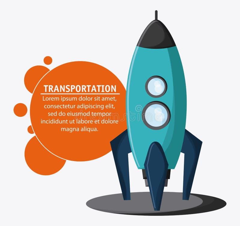 Rocket spaceship transportation vehicle, vector royalty free illustration