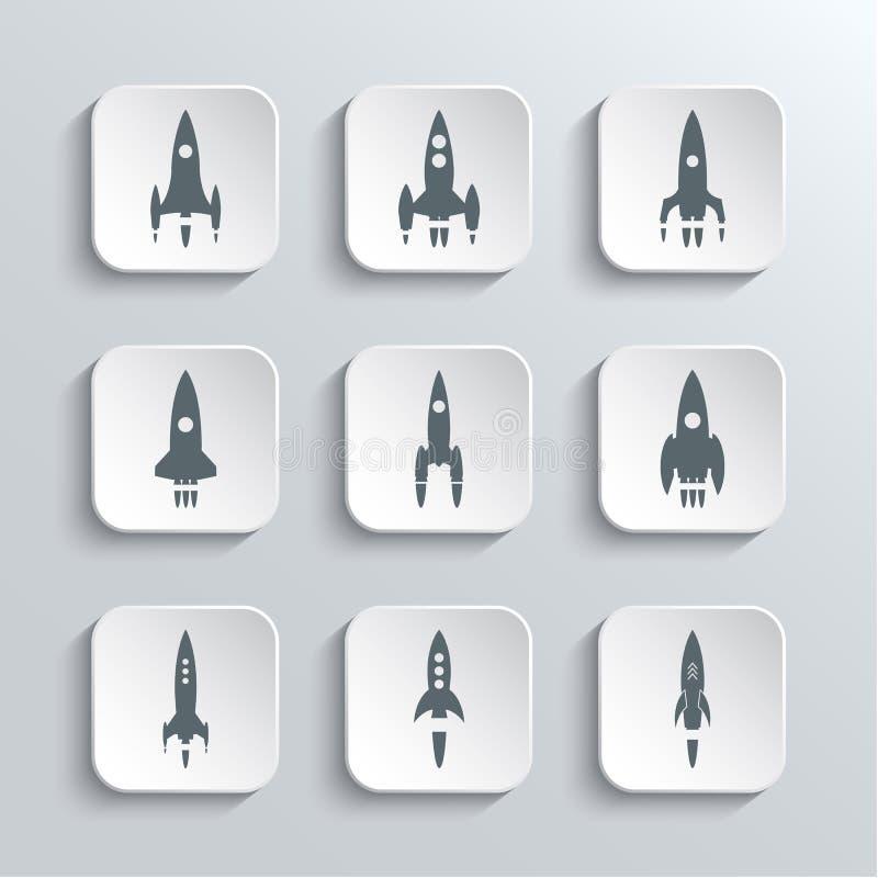 Rocket Spaceship Web Icons Set ilustração stock