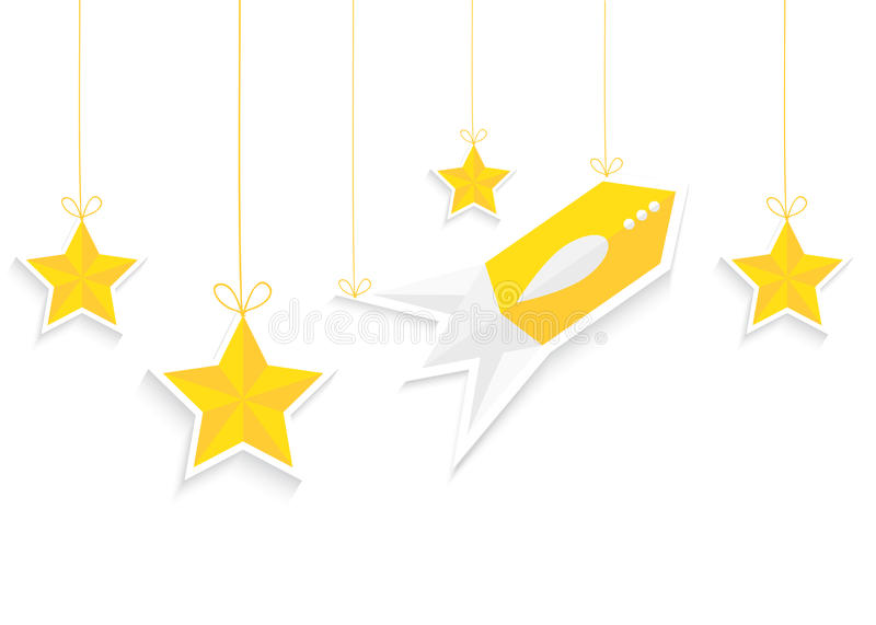 Rocket and stars isolated on white background. Vector EPS10. royalty free illustration