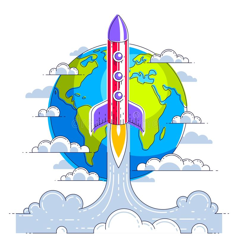 Rocket start from earth to space to discover undiscovered galaxies. Explore universe, interesting space science. Thin line 3d. Vector illustration isolated on royalty free illustration