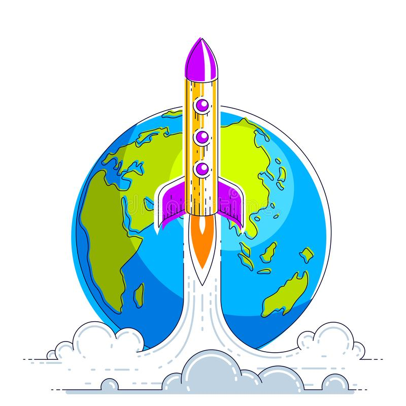 Rocket start from earth to space to discover undiscovered galaxies. Explore universe, interesting space science. Thin line 3d. Vector illustration isolated on stock illustration