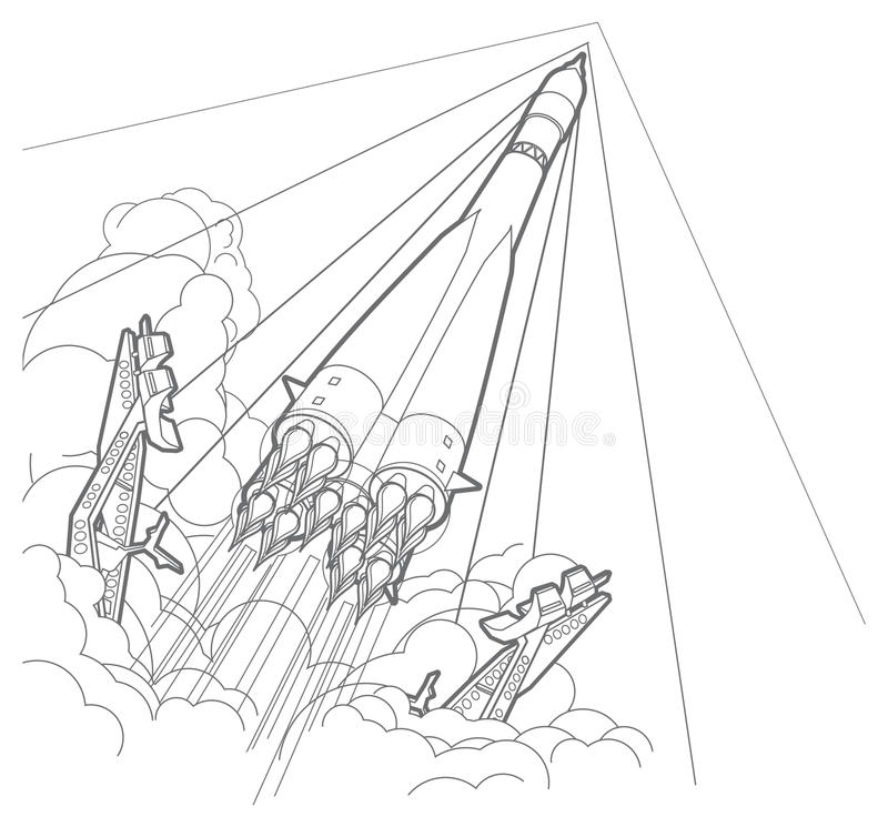 Rocket start. Startup. Outline stock illustration