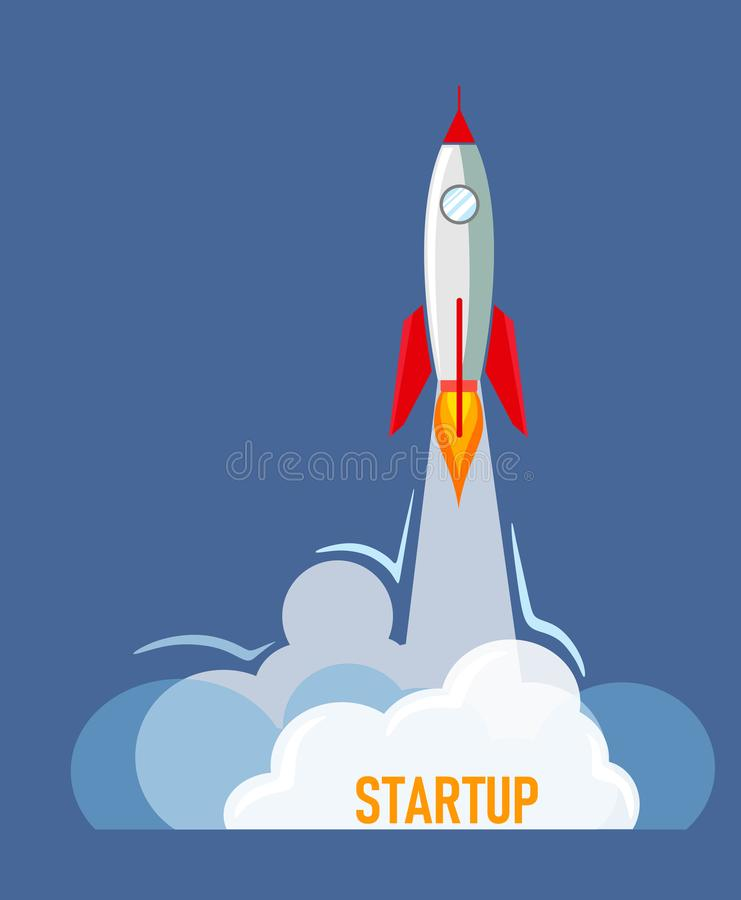 Rocket for start-up in flat style with text vector illustration