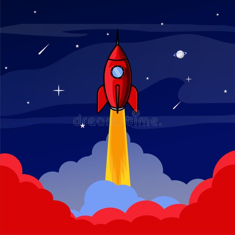 Rocket start up in space illustration stock illustration