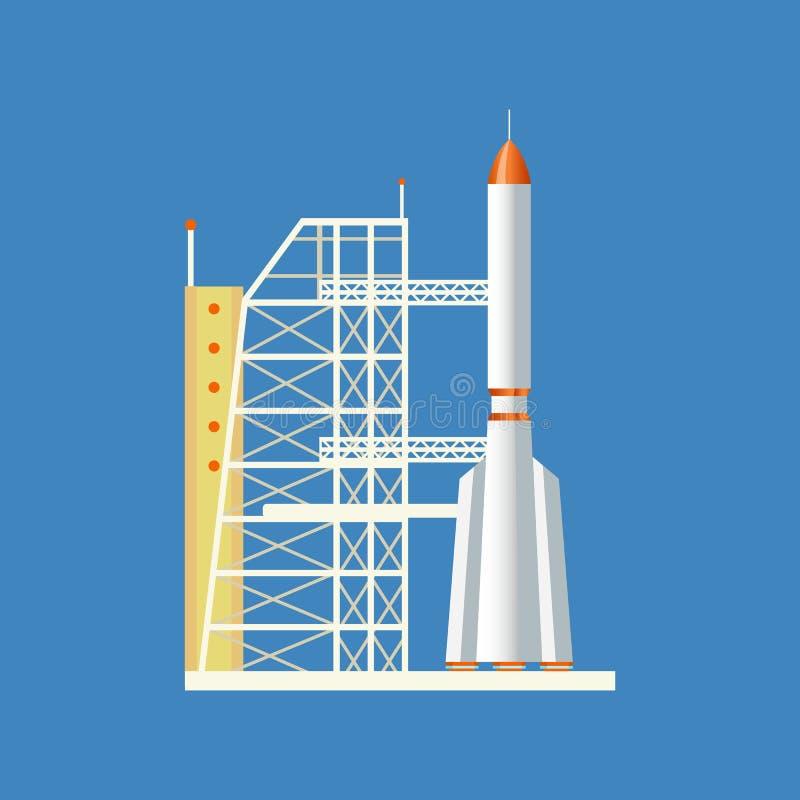 Rocket startete von der Station in die Luft, installiert auf technische Basis vektor abbildung