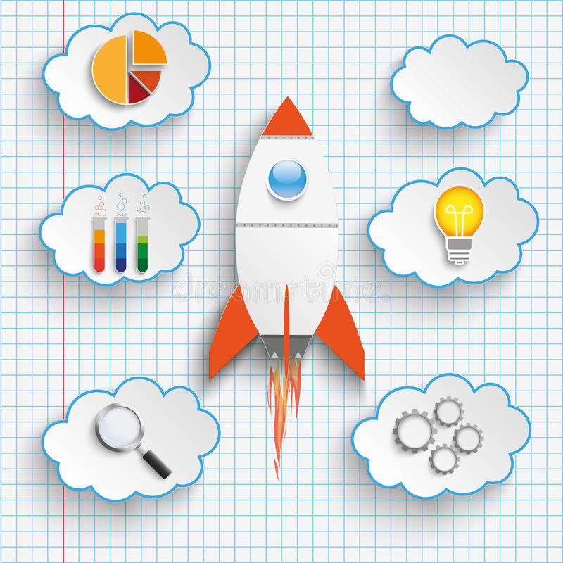 Rocket Startup Clouds With Icons Checked Paper stock illustration