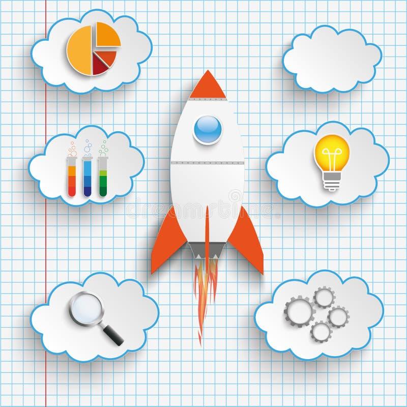 Rocket Startup Clouds With Icons verificou o papel ilustração stock