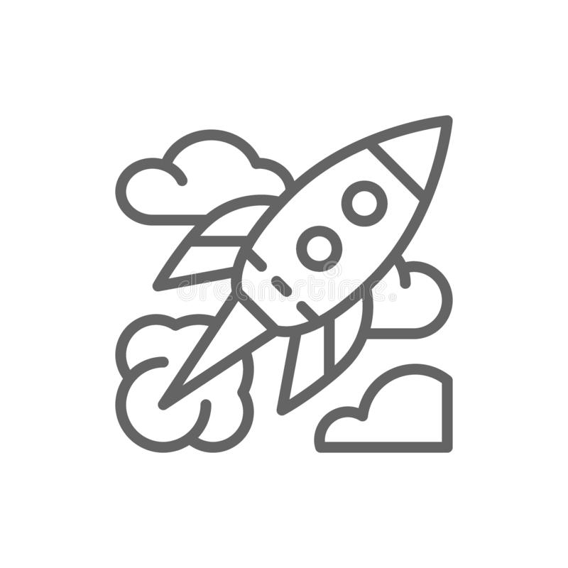 Rocket, startup line icon. Isolated on white background vector illustration