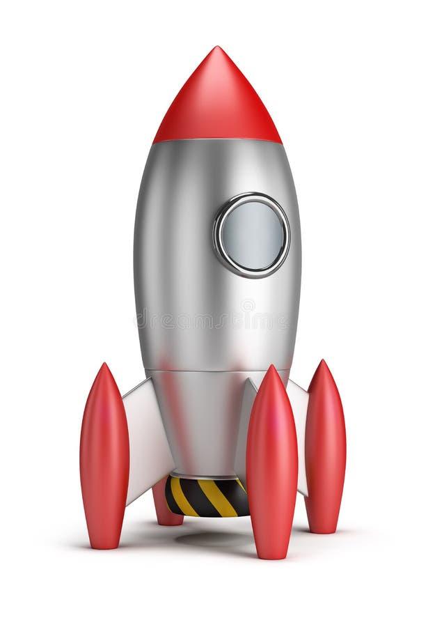 Rocket. Steel rocket. 3d image. White background stock illustration
