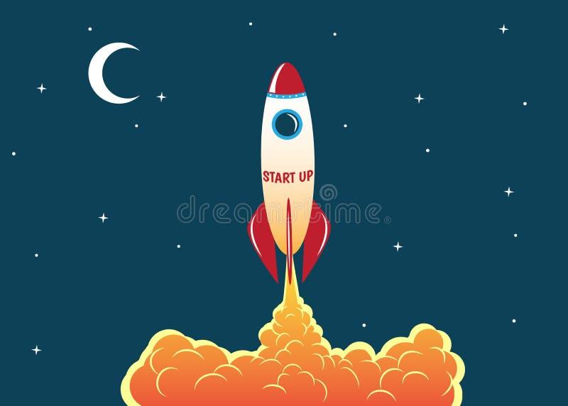 Rocket steigt in den Himmel an vektor abbildung
