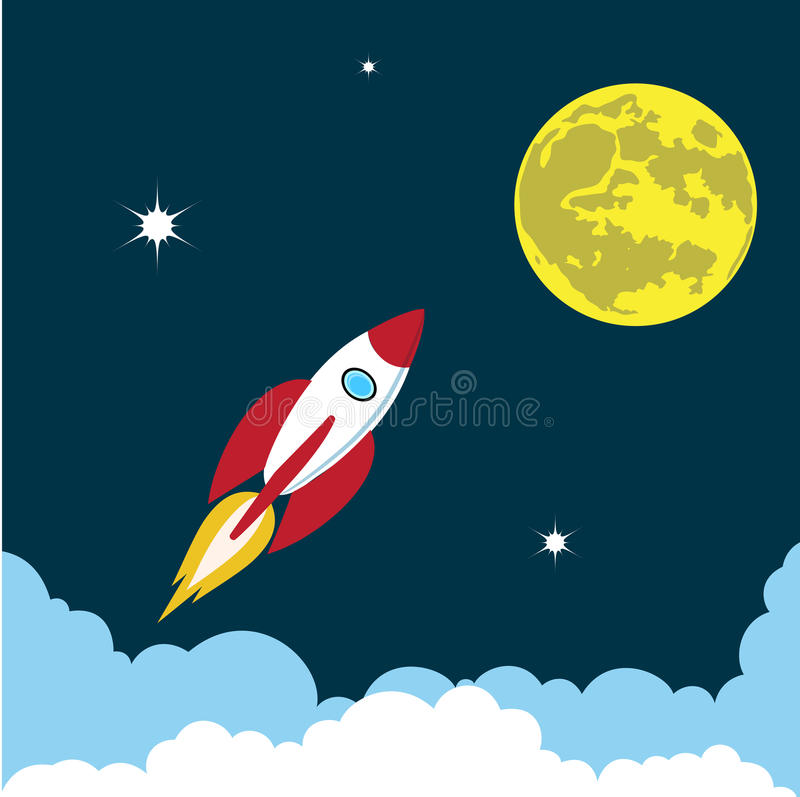 Rocket steigt in die Himmelfarbillustration an vektor abbildung